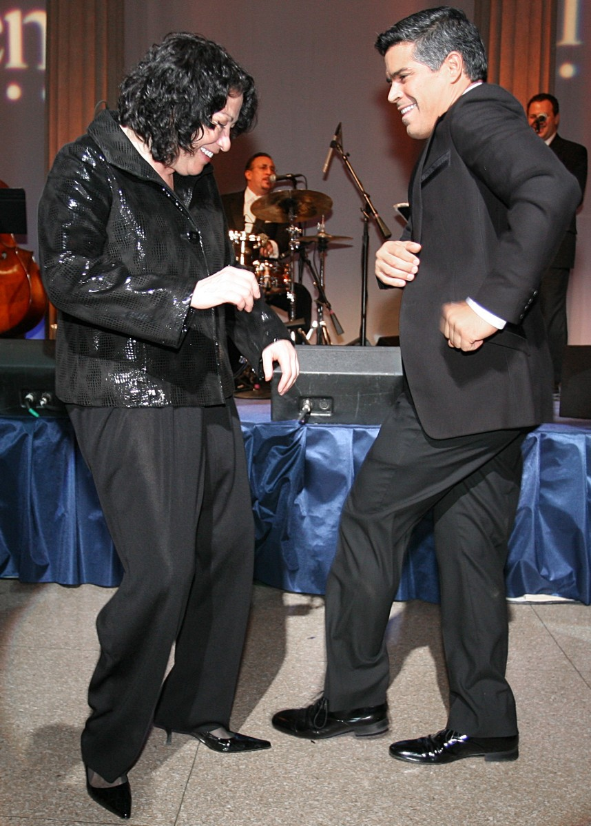WASHINGTON - SEPTEMBER 15: U.S. Supreme Court Justice Sonia Sotomayor and actor Esai Morales salsa dance at the 13th Annual National Hispanic Foundation For The Arts (NHFA) Noche Musical at the Corcoran Gallery of Art on September 15, 2009 in Washington, DC. (Photo by Abby Brack/Getty Images)