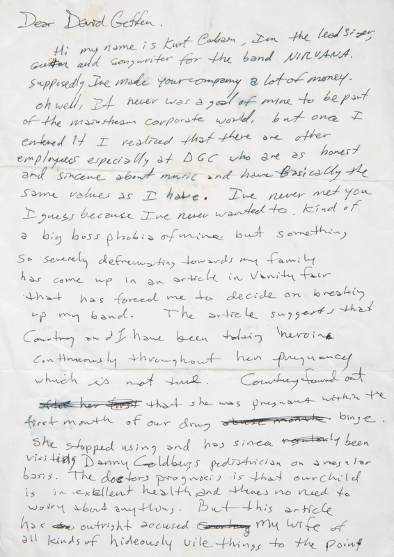 Kurt Cobain Handwritten Letter to David Geffen