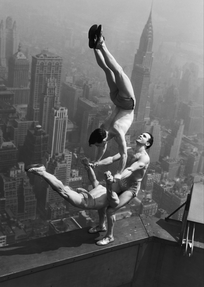 Acrobats Perform on Empire State Building