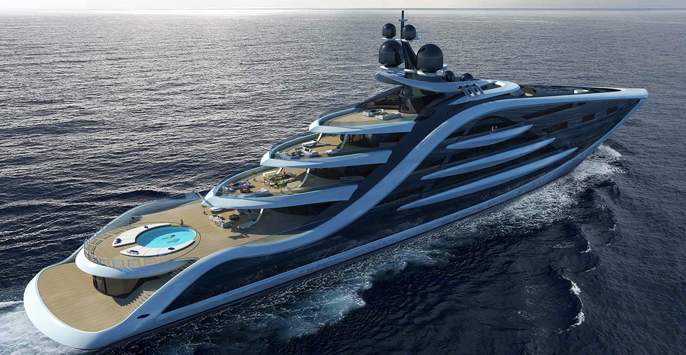 If launched today, Andy Waugh's 426.5-foot Epiphany superyacht concept would be one of the largest yachts in the world. The sleek black-and-white boat sports giant glass windows and an eye-catching, curvaceous exterior. Multiple decks and lounges provide plenty of space to soak up the sunshine.