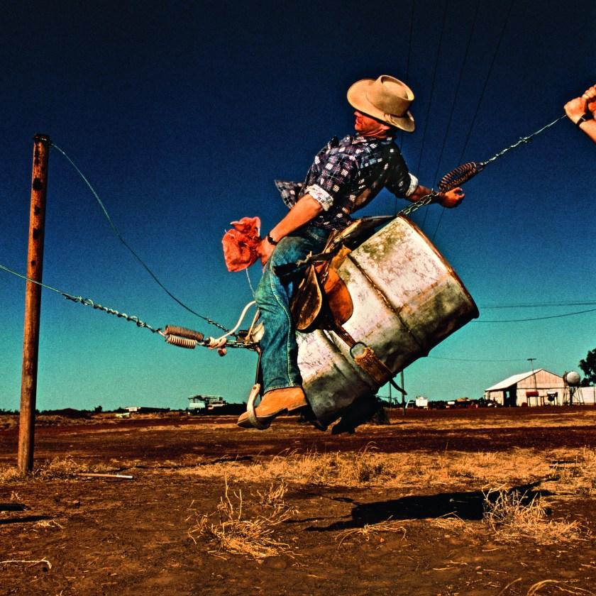 """Saddle bronc training"" set up. (Balls and Bulldust by Hakan Ludwigson, publishd by Steidl)"