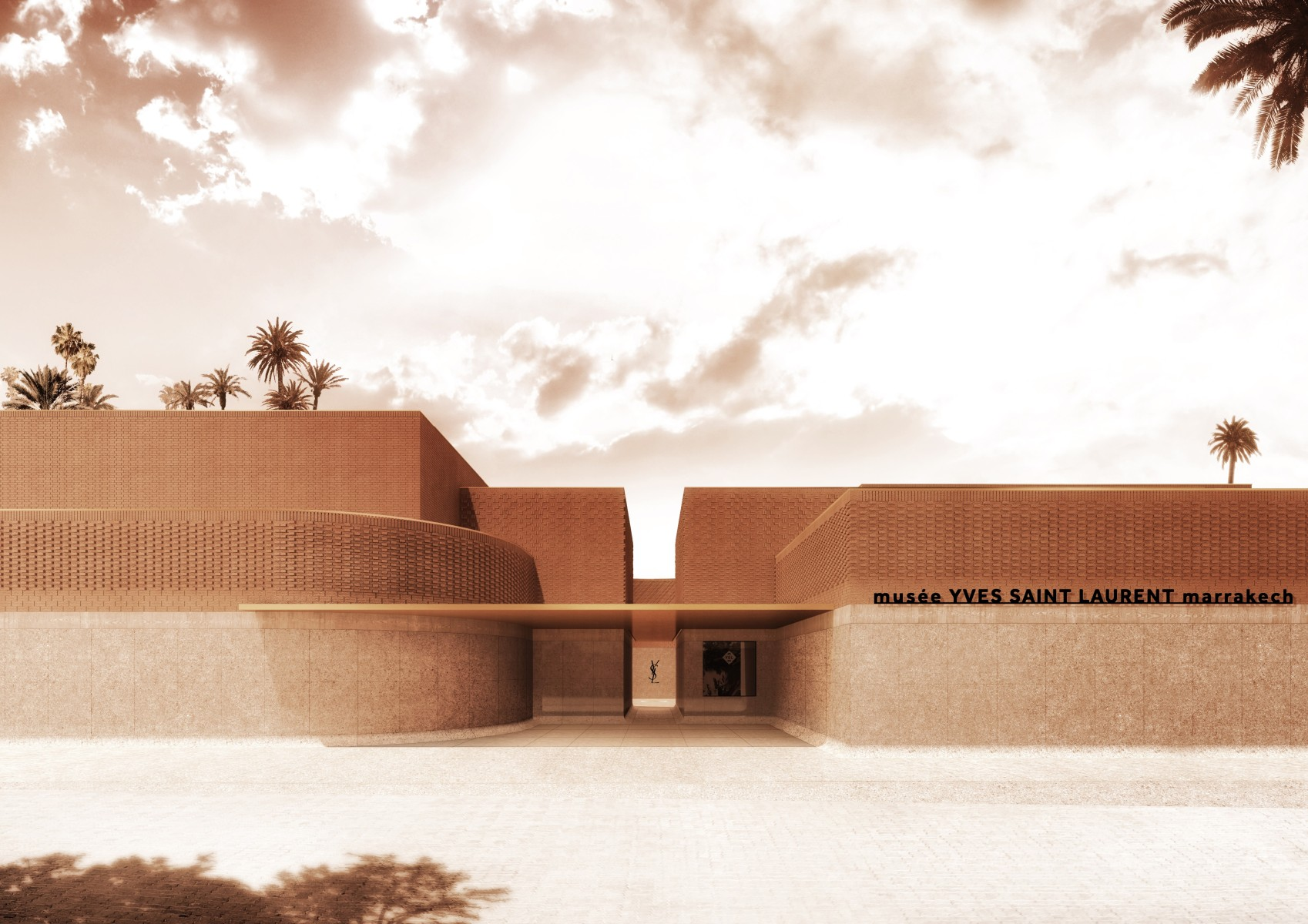 """Architectural designs by French firm Studio KO have been released for the upcoming museum dedicated to designer Yves Saint Laurent and his work, the """"mYSLm"""" (MusŽe Yves Saint Laurent Marrakech)."""