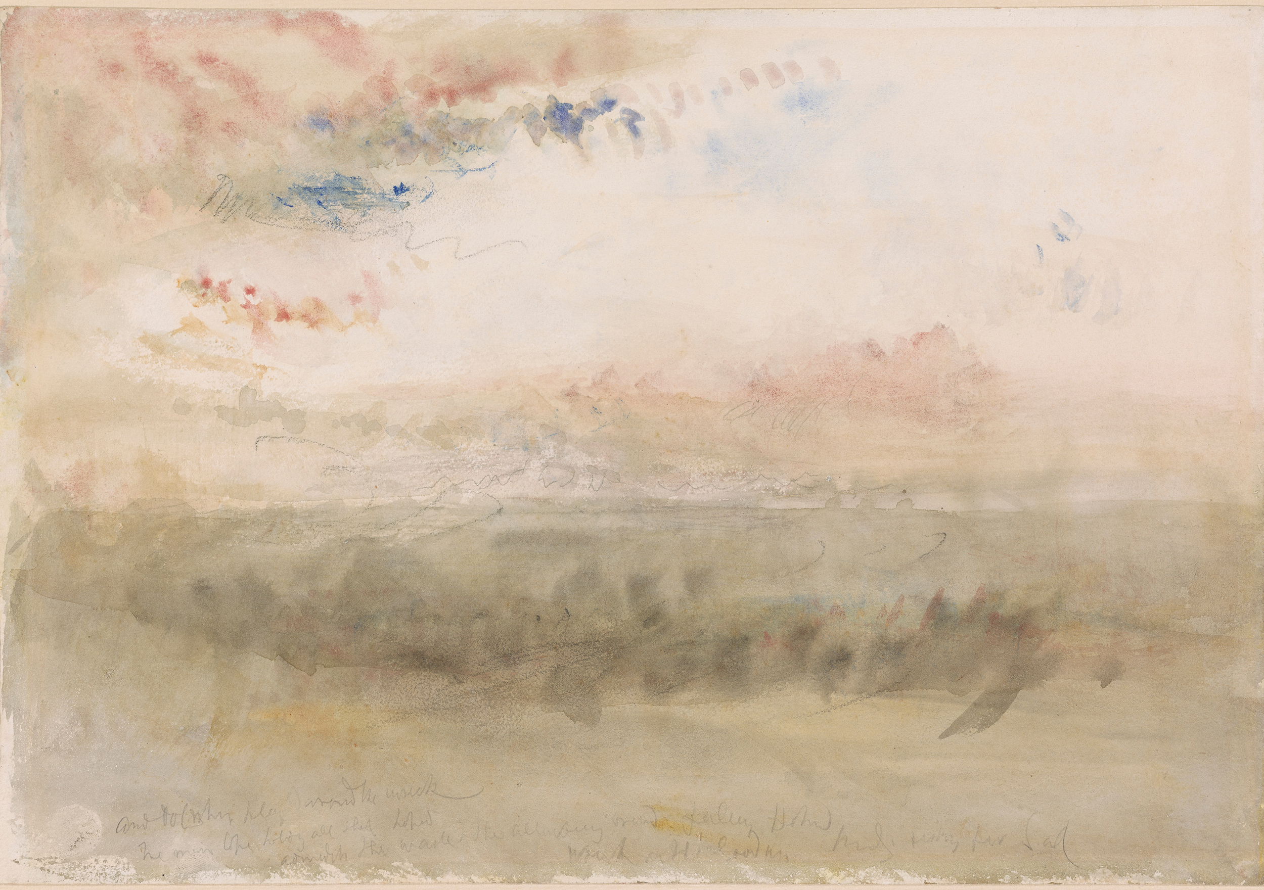 """""""Wreck on the Goodwin Sands: Sunset,"""" watercolor and graphite with black chalk on paper, 1845 (Courtesy of The Met)"""