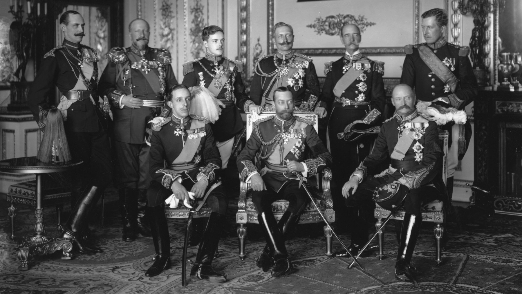 May 1910:  Nine Kings assembled at Buckingham Palace for the funeral of Edward VII, the Father of George V (centre). From left to right, back row: Haakon VII of Norway, Ferdinand I of Bulgaria, Manuel II of Portugal, Wilhelm II of Germany, George I of Greece and Albert I Of Belgium. Front row: Alphonso XIII of Spain, George V and Frederick VIII of Denmark.  (Photo by W. & D. Downey/Getty Images)