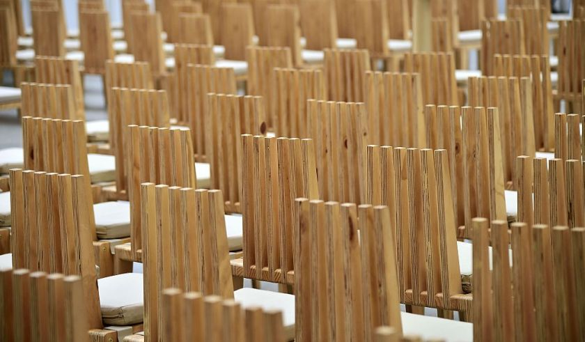 "This photo taken on December 30, 2014 shows the chairs designed for the main auditorium for Christchurch's ""Cardboard Cathedral"", designed by award-winning Japanese architect Shigeru Ban. The structure, which is a temporary replacement for the 1881 Anglican cathedral destroyed in the February, 2011 quake with killed 185 people, is an A-frame building constructed with weather-proofed cardboard tubes. AFP PHOTO / MARTY MELVILLE (Photo credit should read Marty Melville/AFP/Getty Images)"