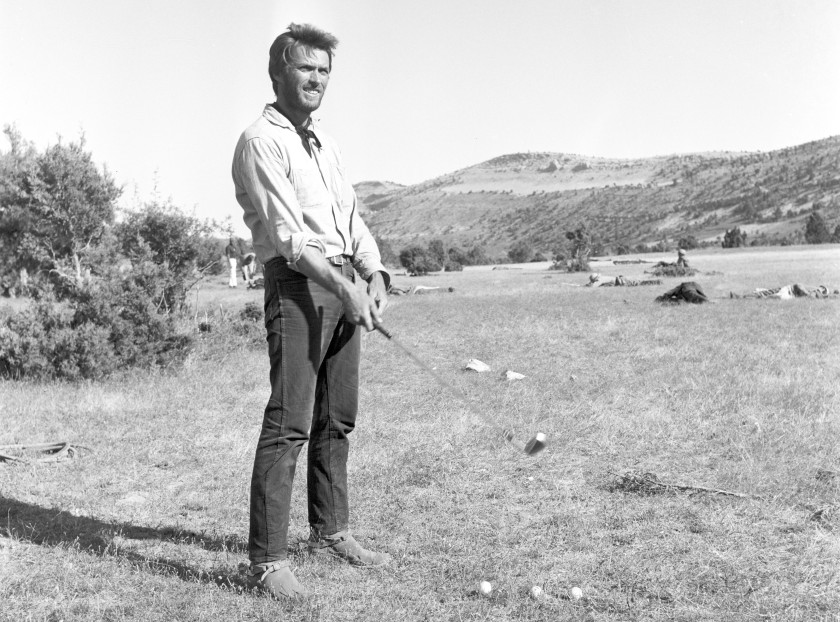 American actor Clint Eastwood playing golf during a break on the set of the film The Good, the Bad and the Ugly. 1966 (Photo by Reporters Associati & Archivi/Mondadori Portfolio via Getty Images)