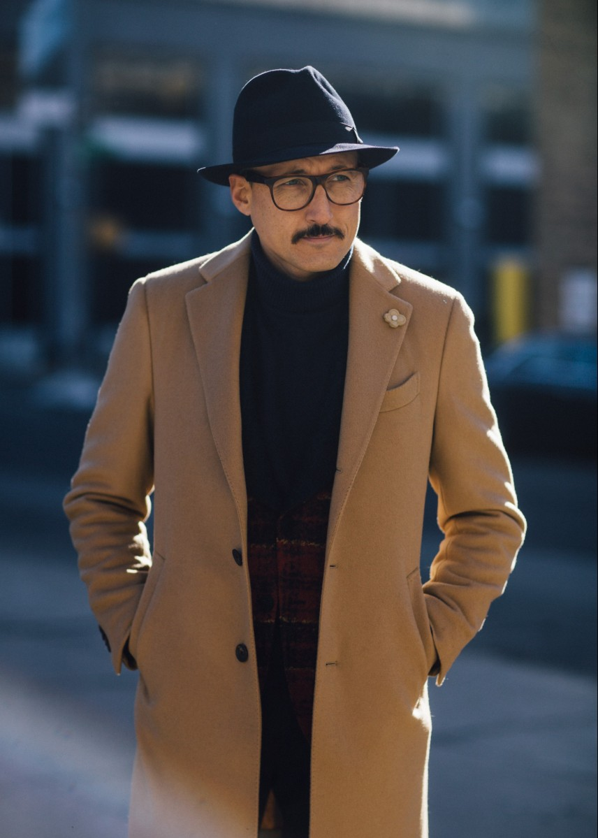 NEW YORK, NY - FEBRUARY 03:  Fabrizio Oriani wears a Lardini total look including a camel coat with a Borsalino hat during New York Fashion Week: Men's Fall/Winter 2016 on February 3, 2016 in New York City.  (Photo by Melodie Jeng/Getty Images)