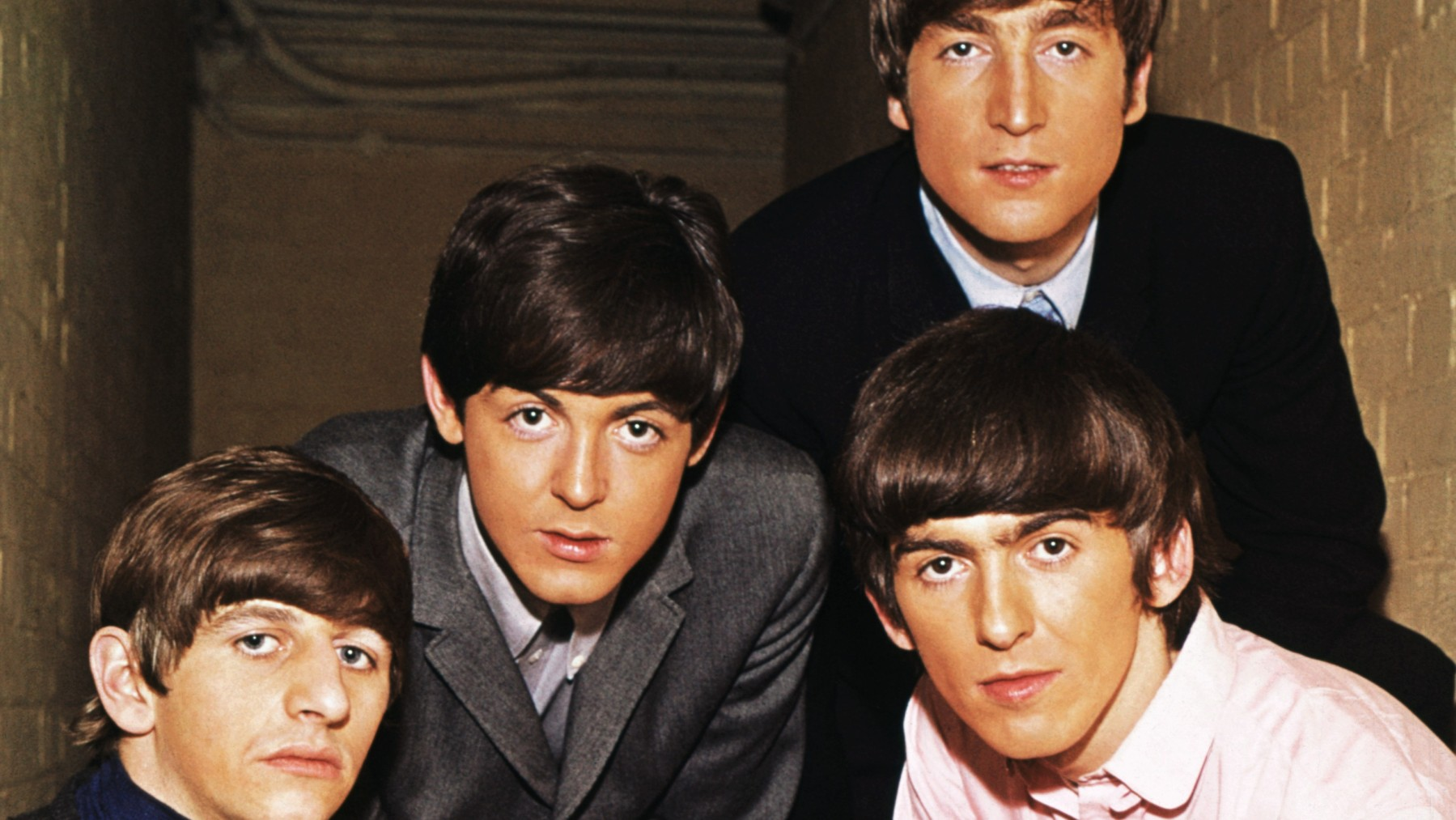 Portrait of the The Beatles. From left to right: Ringo Starr, Paul McCartney, John Lennon, and George Harrison.