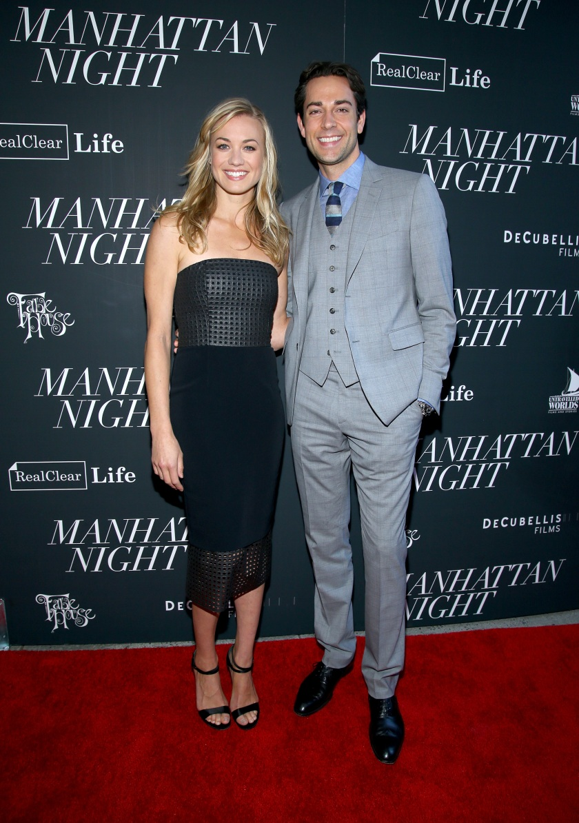 """NEW YORK, NY - MAY 16: Yvonne Strahovski (L) and Zachary Levi attend the """"Manhattan Night"""" New York Screening at Regal Cinemas Union Square on May 16, 2016 in New York City. (Photo by Paul Zimmerman/WireImage)"""