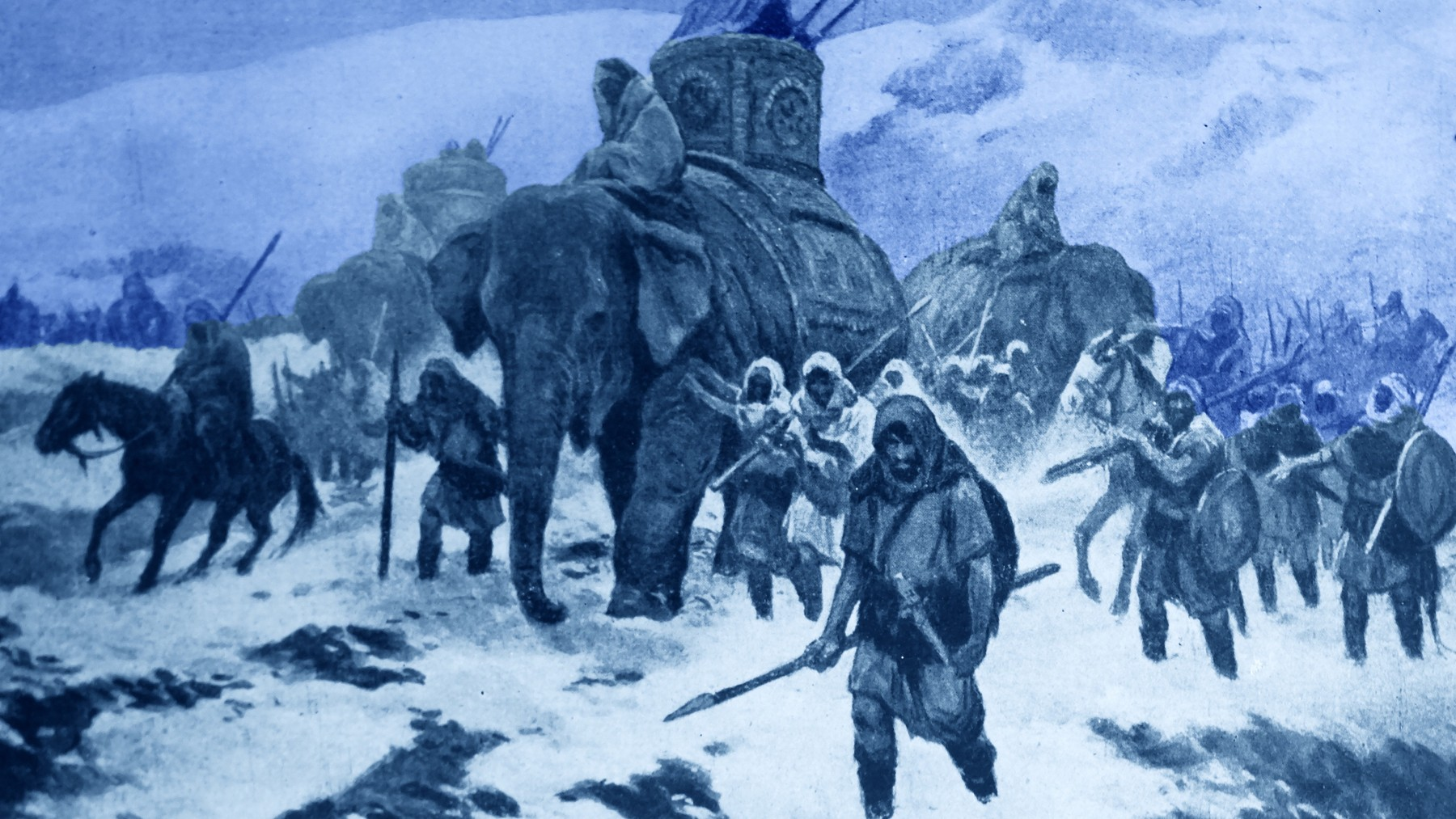 Hannibal, Punic Carthaginian military commander, marching his army which included elephants from Iberia over the Pyrenees and the Alps into Italy. (Universal History Archive/UIG via Getty Images)
