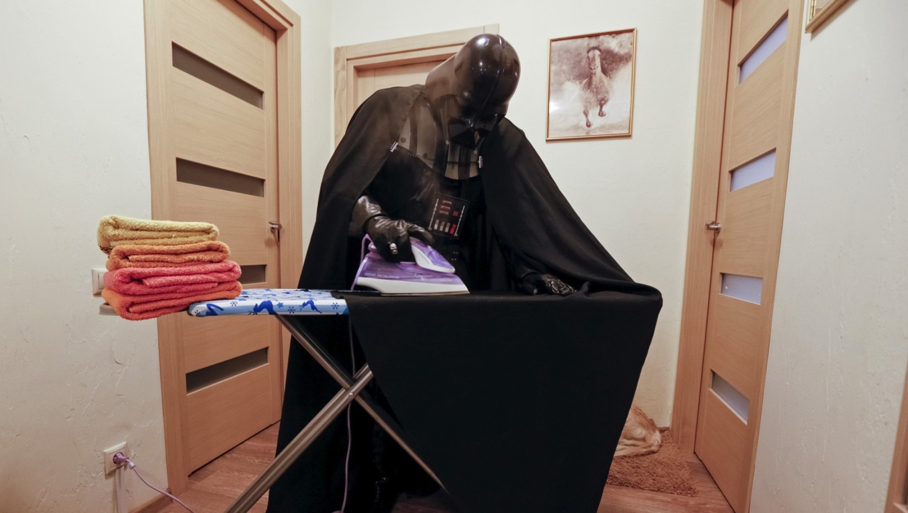 "Darth Mykolaiovych Vader, who is dressed as the 'Star Wars' character Darth Vader, poses for a picture as he irons his cloak at his apartments in Odessa, Ukraine, December 2, 2015. Darth Vader was bent on galactic domination, but his Ukrainian namesake enjoys more mundane pursuits: local politics, walking the family dog and a spot of embroidery. The Ukrainian citizen, who has changed his name to Darth Mykolaiovych Vader, ran for the post of local mayor in October, his political backers dressed as Stormtroopers. In his trademark black outfit, he is a regular sight around Odessa, a major port city on southern Ukraine's Black Sea coast. REUTERS/Valentyn Ogirenko PICTURE 13 OF 22 - SEARCH ""VALENTYN VADER"" FOR ALL IMAGES - RTX1Y83Z"