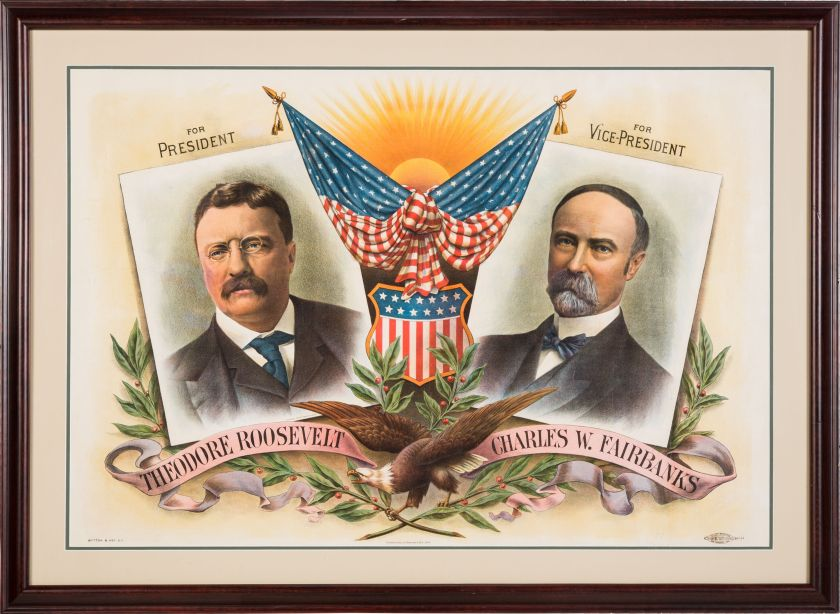 Theodore Roosevelt and Charles Fairbanks Political Poster