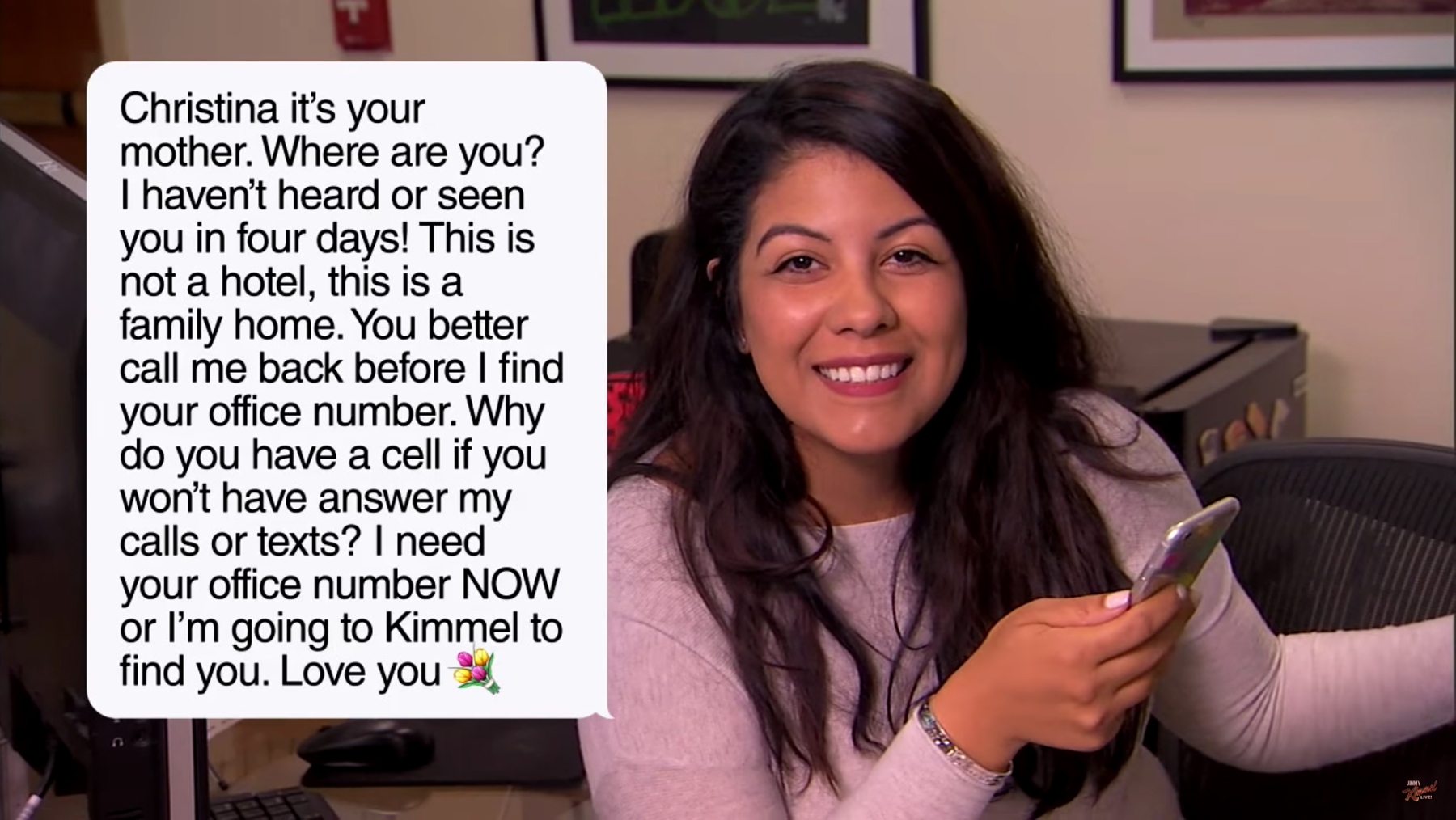 Jimmy Kimmel Staff Reads Texts From Their Mothers