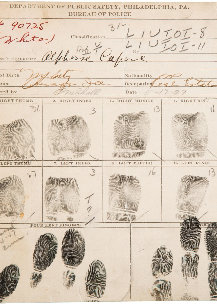 Al Capone's Booking Sheet Sells for $71,700