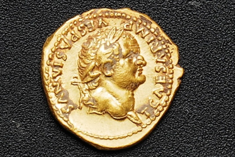 A gold coin recently discovered in Pompeii, near Naples, Italy. (Pompeii Archeological Site Press Office via AP)