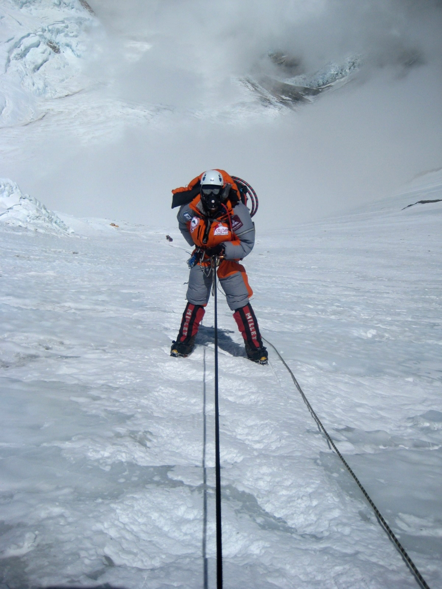 Female Bangladeshi mountaineer Wasfia Nazreen descends on the lonely Lhotse face on Mount Everest on May 27, 2012.  Wasfia Nazreen, 29, became the second Bangladeshi woman to summit the world's tallest mountain on May 26, 2012 and is climbing the highest peak on each of the continents to celebrate 40 years of Bangladeshi independence.    AFP PHOTO/ Ngima Girmen Sherpa        (Photo credit should read Ngima Girmen Sherpa/AFP/GettyImages)  http://video.nationalgeographic.com/video/short-film-showcase/a-womans-epic-journey-to-climb-7-mountains-shot-on-a-phone