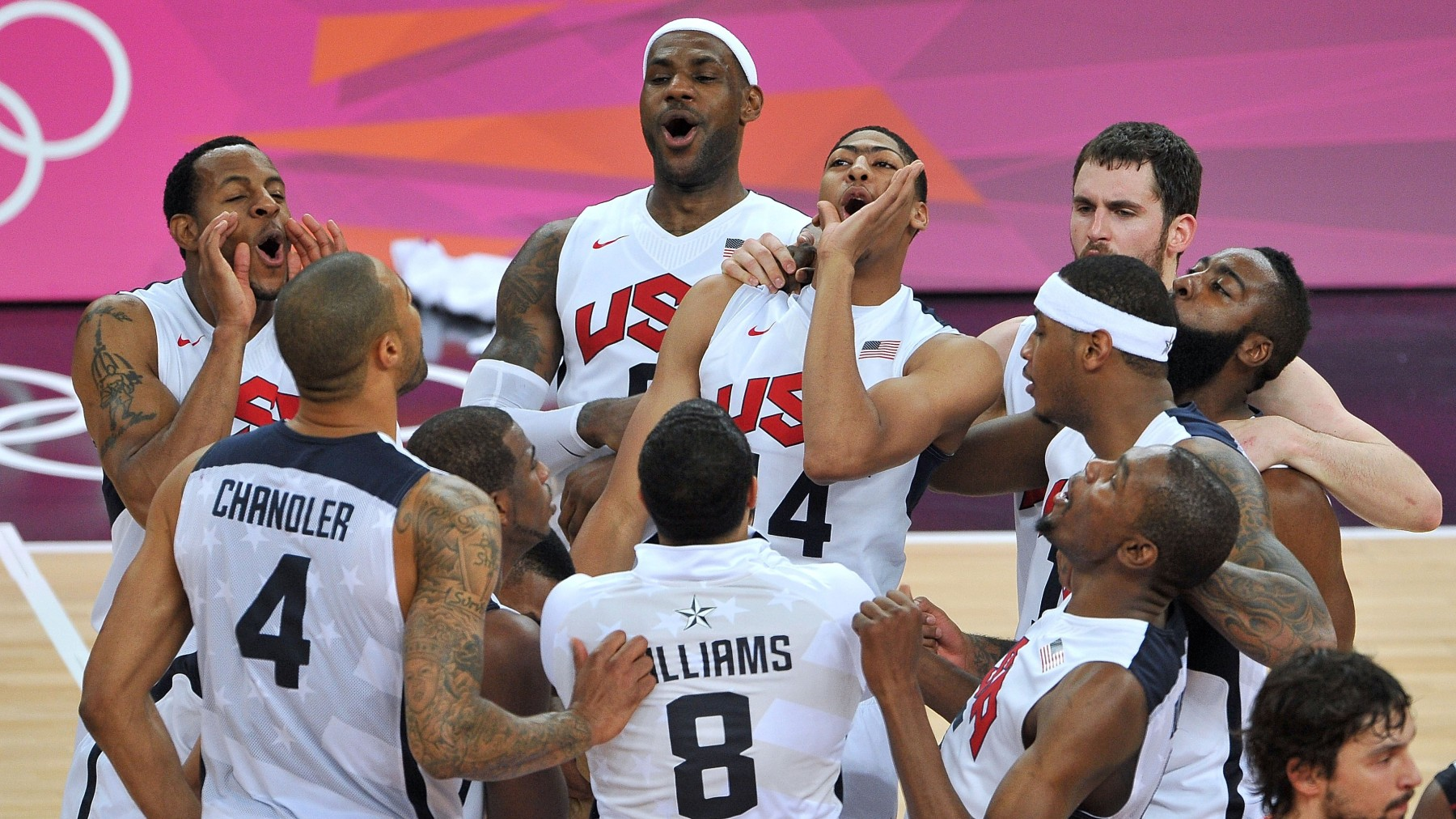 The United States players celebrate winning the Men's Basketball gold medal game at the London 2012 Olympics Games. (Pascal Le Segretain/Getty Images)