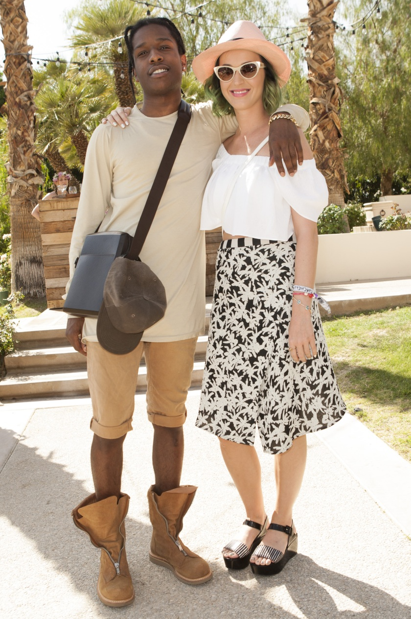 ASAP Rocky and Katy Perry attend the Spotify Brunch at Soho Desert House on April 12, 2014 in La Quinta, California. (Michael Bezjian/Getty Images for Soho House)
