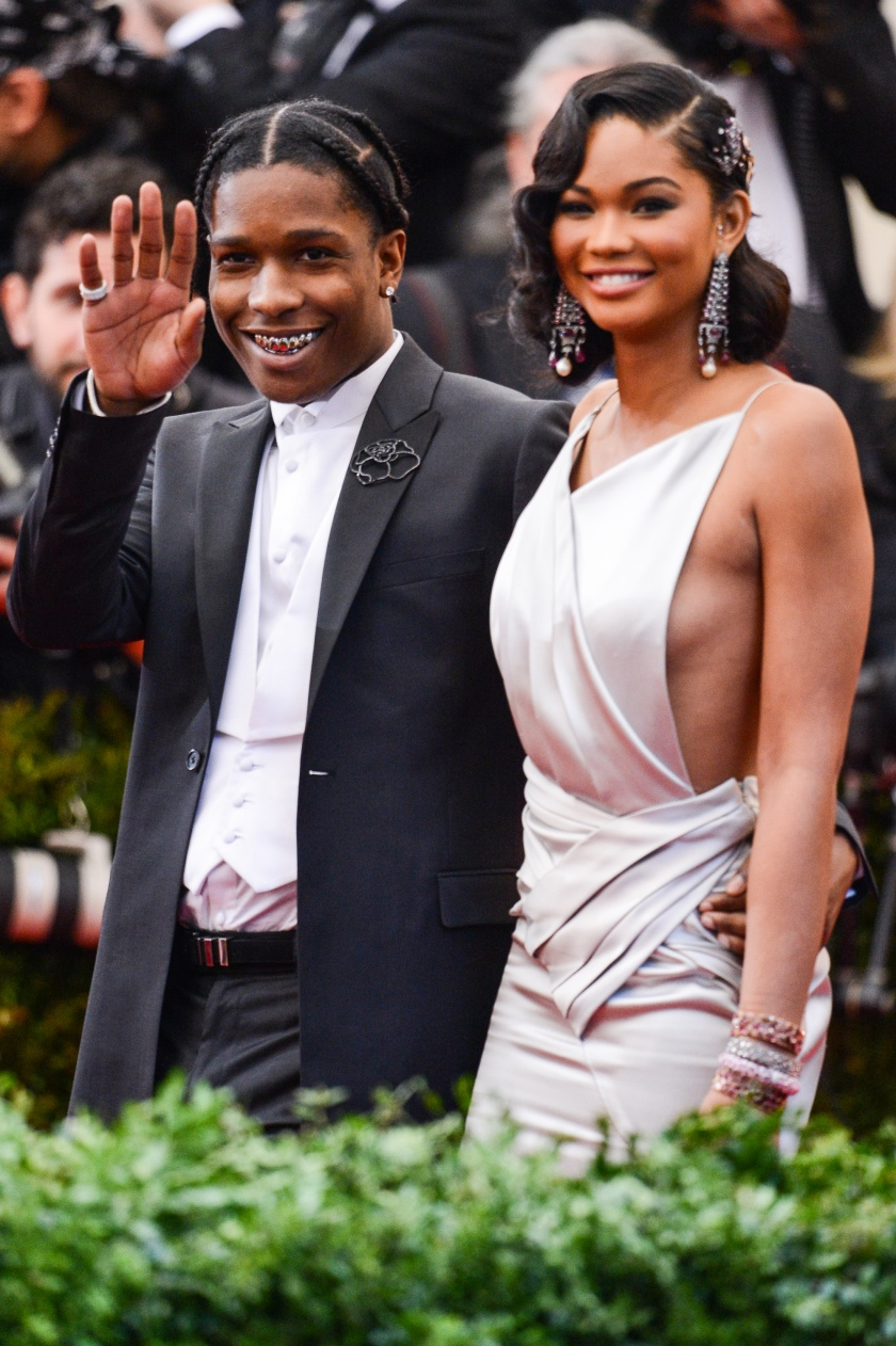 "Rapper ASAP Rocky (L) and model Chanel Iman enter the ""Charles James: Beyond Fashion"" Costume Institute Gala at the Metropolitan Museum of Art on May 5, 2014 in New York City. (Ray Tamarra/GC Images)"