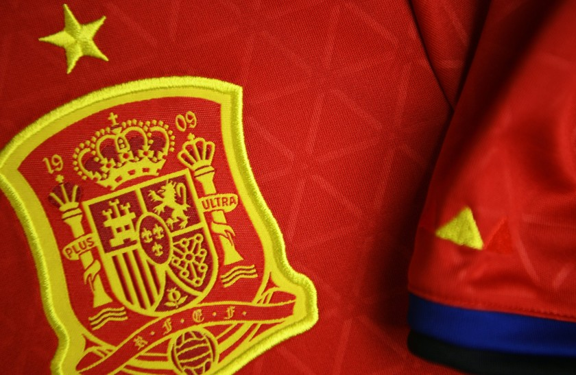 A picture taken on April 21, 2016 in Paris, shows the jersey of the Spanish national football team jersey for the UEFA Euro 2016 European football championships. (Franck Fife/AFP/Getty Images)