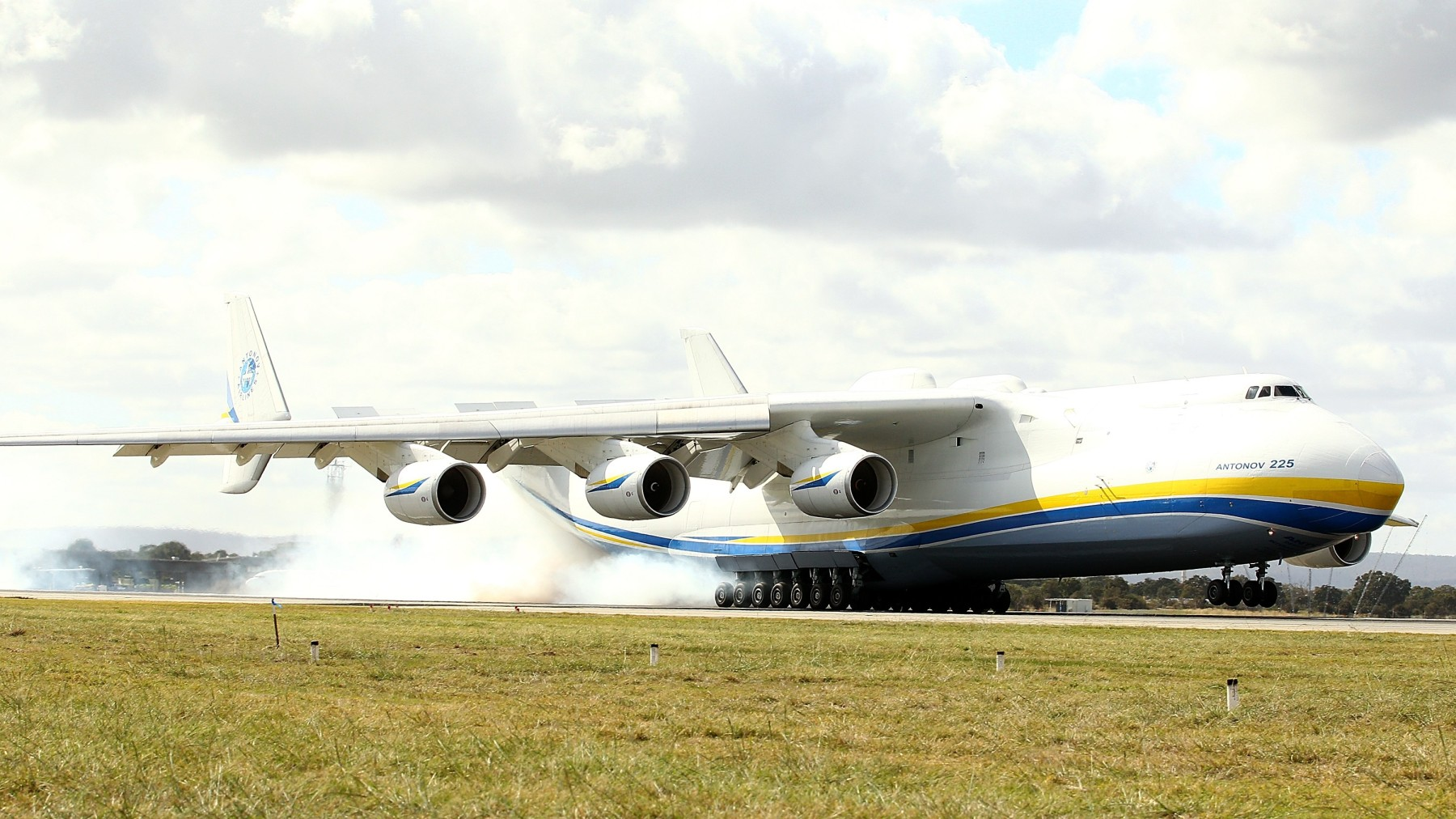 PERTH, AUSTRALIA - MAY 15:  The Antonov AN-225 Mriya lands at Perth International airport on May 15, 2016 in Perth, Australia. The Ukrainian cargo plane is 84 metres long and has a wingspan of 88.4 metres and is in Perth to  (Photo by Paul Kane/Getty Images)