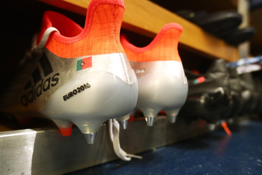 Players cleats on show in the dressing room prior to the UEFA EURO 2016 Group F match between Portugal and Austria at Parc des Princes. (Alex Grimm - UEFA/UEFA via Getty Images)