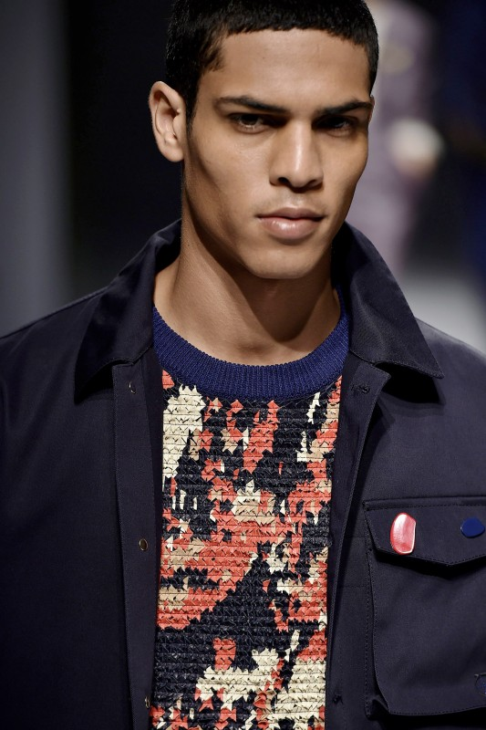 A model walks the runway at the Salvatore Ferragamo Spring Summer 2017 fashion show during Milan Menswear Fashion Week. (Catwalking/Getty Images)