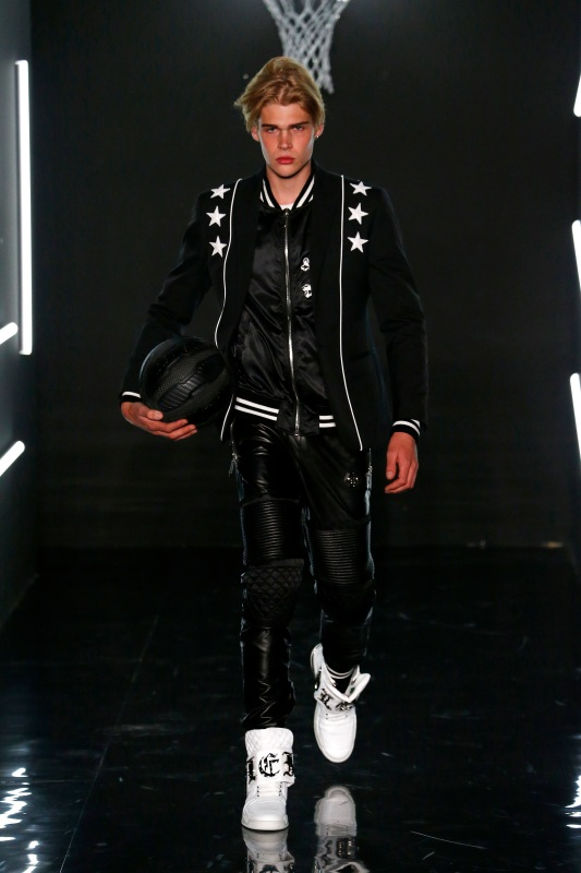 A model walks the runway at the Philipp Plein show during Milan Men's Fashion Week SS17. (Estrop/Getty Images)