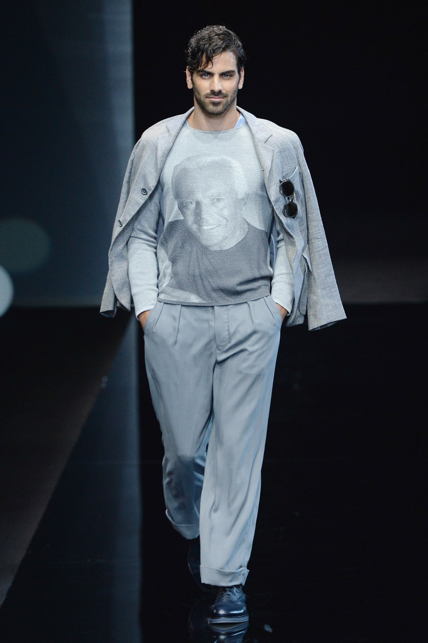 A model walks the runway at the Giorgio Armani Spring/Summer 2017 fashion show during Milan Menswear Fashion Week on June 21, 2016 in Milan, Italy. (Catwalking/Getty Images)