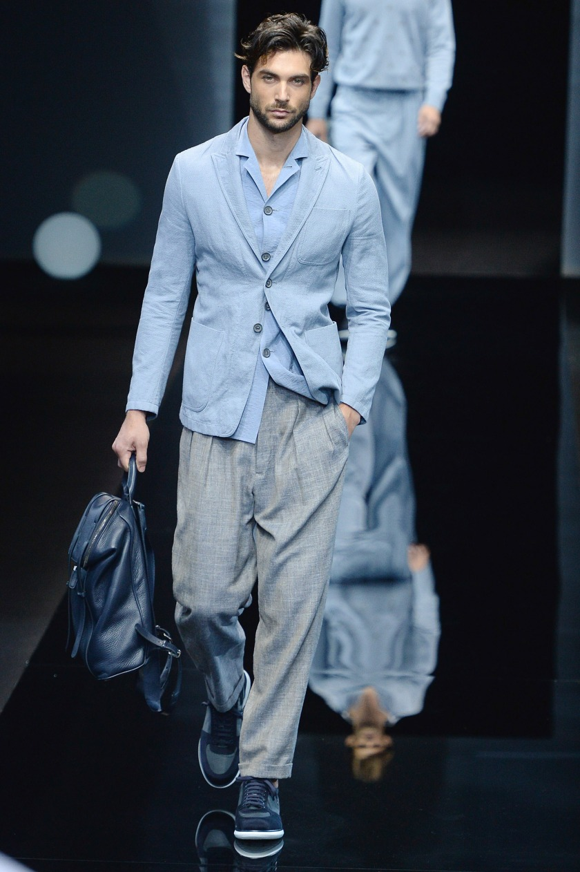 MILAN, ITALY - JUNE 21: A model walks the runway at the Giorgio Armani Spring Summer 2017 fashion show during Milan Menswear Fashion Week on June 21, 2016 in Milan, Italy. (Photo by Catwalking/Getty Images)