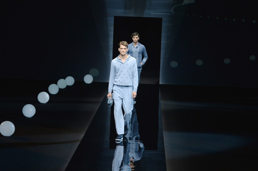 Models walk the runway at the Giorgio Armani Spring Summer 2017 fashion show during Milan Menswear Fashion Week on June 21, 2016 in Milan, Italy. (Catwalking/Getty Images)