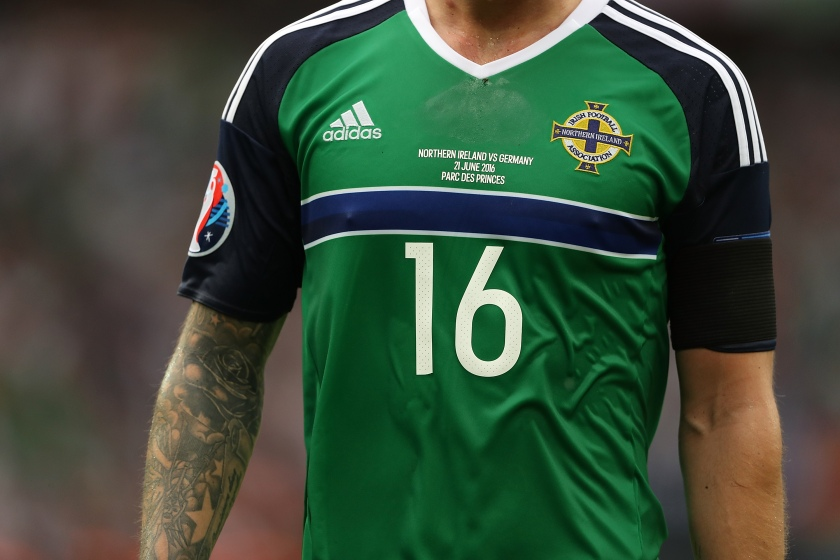 Detail of the shirt of Northern Ireland's Oliver Norwood during the UEFA EURO 2016 Group C match between Northern Ireland and Germany at Parc des Princes (Matthew Ashton - AMA/Getty Images)