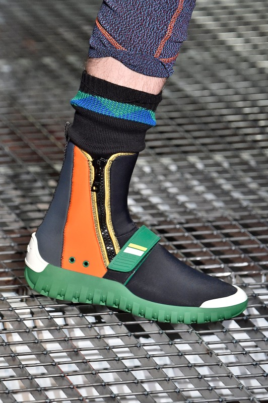 Detail shot of a model's shoe as he walks the runway at the Prada show during Milan Men's Fashion Week Spring/Summer 2017. (Victor VIRGILE/Gamma-Rapho via Getty Images)