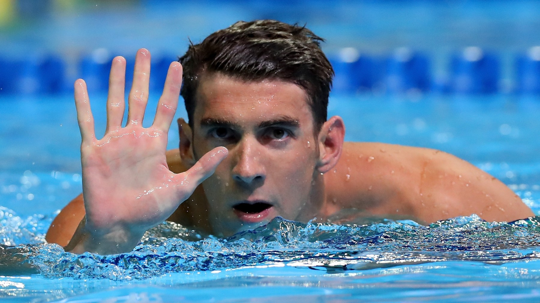 OMAHA, NE - JUNE 29:  Michael Phelps of the United States reacts after winning the final heat for the Men's 200 Meter Butterfly during Day Four of the 2016 U.S. Olympic Team Swimming Trials at CenturyLink Center on June 29, 2016 in Omaha, Nebraska.  (Photo by Tom Pennington/Getty Images)