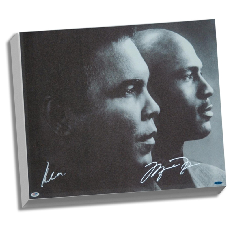 Muhammad Ali and Michael Jordan dual-signed canvas