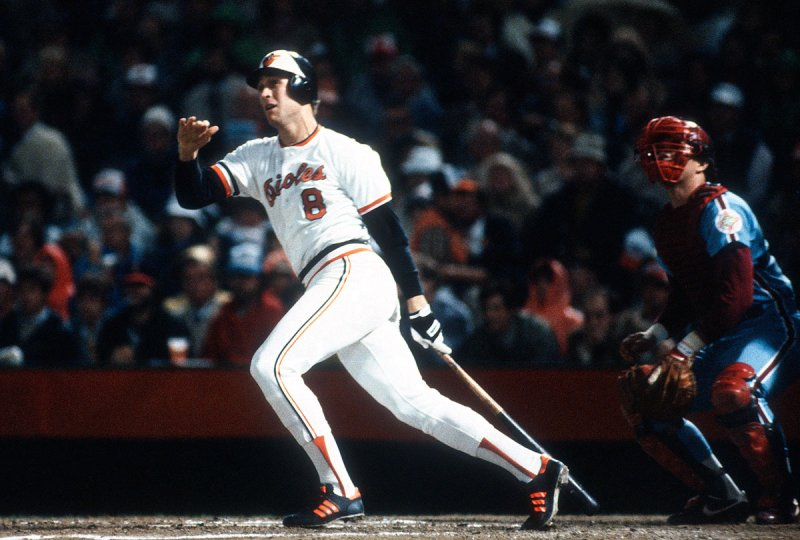 BALTIMORE, MD - OCTOBER 1983: Cal Ripken Jr. #8 of the Baltimore Orioles bats against the Philadelphia Phillies during the 1983 World Series October 1983 at Memorial Stadium in Baltimore, Maryland. Baltimore won the series 4 games to 1.. (Photo by Focus on Sport/Getty Images)