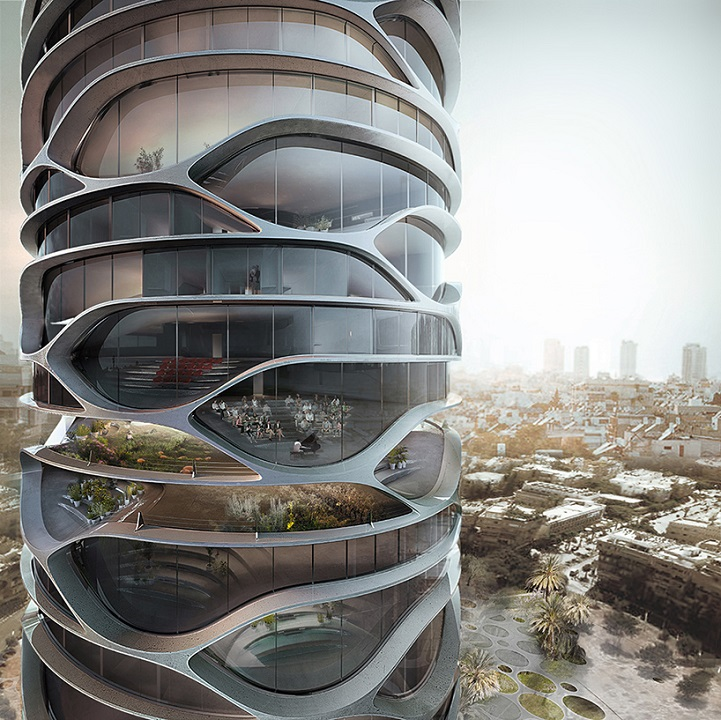 Skyscraper in Tel Aviv http://www.mymodernmet.com/profiles/blogs/gran-mediterraneo-tower-tel-aviv