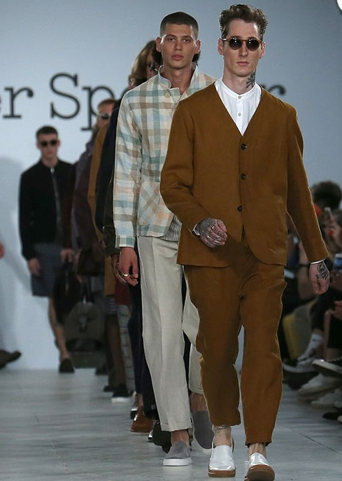 LONDON, ENGLAND - JUNE 10:  A model walks the runway at the Oliver Spencer show during The London Collections Men SS17 at BFC Show Space on June 10, 2016 in London, England.  (Photo by Luca Teuchmann/Getty Images)
