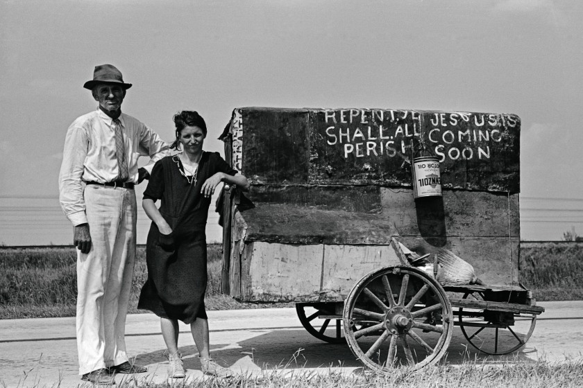 Traveling evangelists between Lafayette and Scott in Crowley, Louisiana during 1938. They have spent twenty-five years on the road preaching the gospel. (Russell Lee; Prints and Photographs Division, Library of Congress, Washington, D. C.)