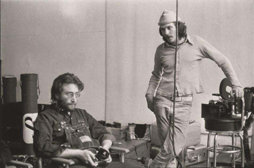 """John Lennon and Danny Seymour, The Bowery, New York,"" 1969 Gelatin silver print, printed later. (Danny Lyon, courtesy Edwynn Houk Gallery, New York)"