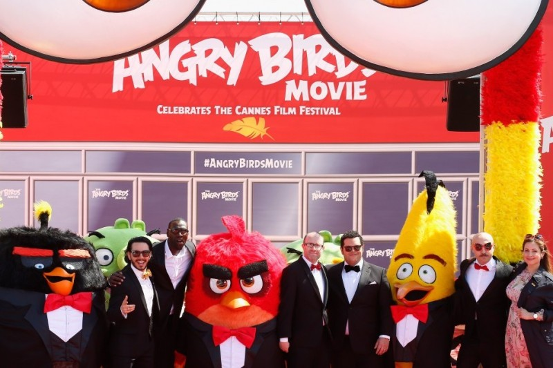 """CANNES, FRANCE - MAY 10: Singer Timur Rodriguez, actor Omar Sy, producer John Cohen, actors Josh Gad, Maccio Capatonda and TV presenter Raya Abirached attend """"The Angry Birds Movie"""" Photocall during the annual 69th Cannes Film Festival at JW Marriott on May 10, 2016 in Cannes, France. (Photo by Luca Teuchmann/WireImage)"""