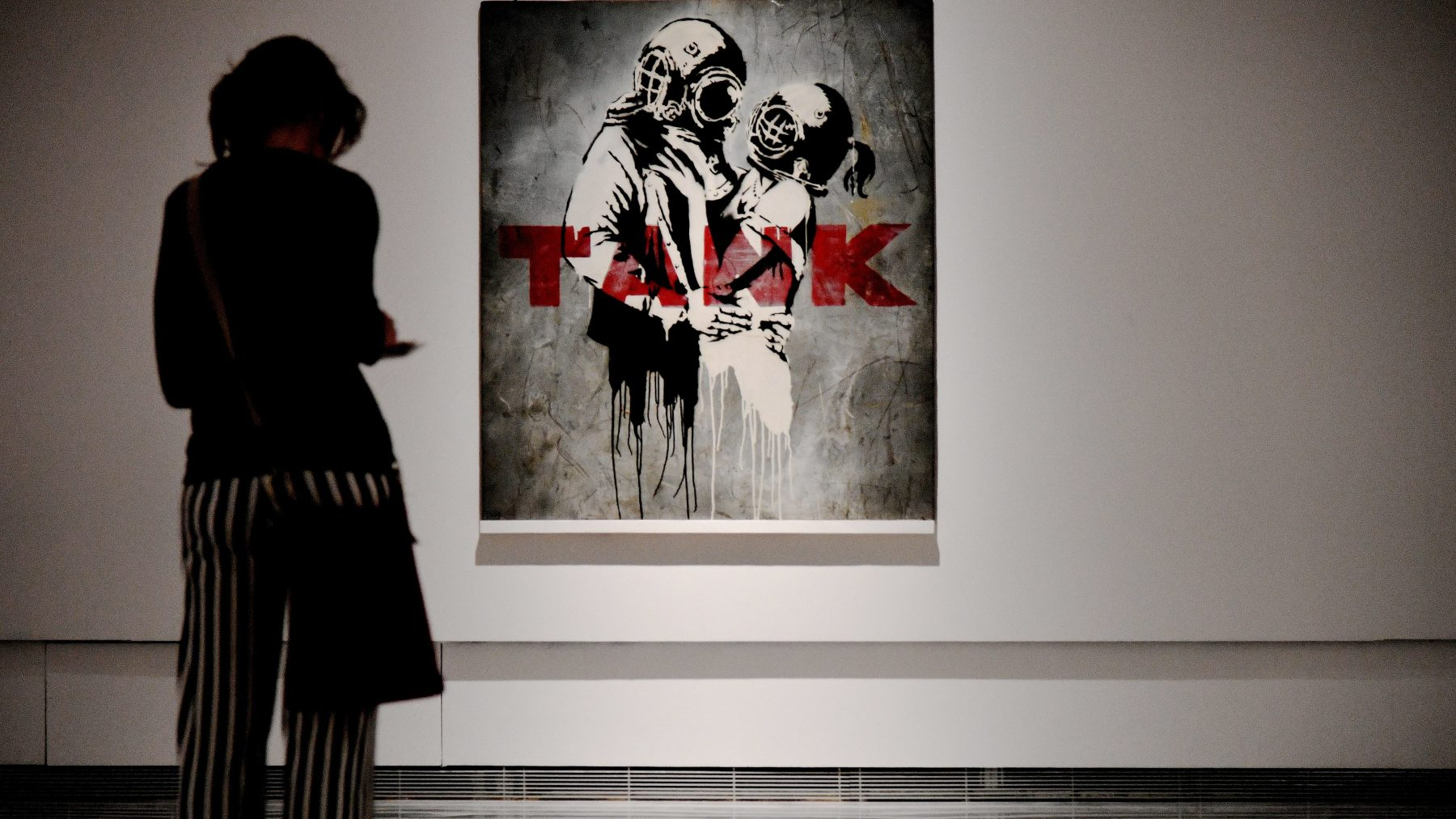 'Think Tank' by English street artist Banksy, on display at Rome's Palazzo Cipolla in May 2016. The piece was sourced from private collectors. (Vincenzo Pinto/AFP/Getty Images)