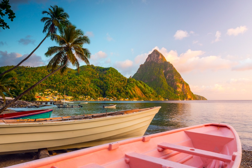 Caribbean, St Lucia, Soufriere, Soufriere Bay, Soufriere Beach and Petit Piton (UNESCO World Heritage Site), Traditional Fishing Boats