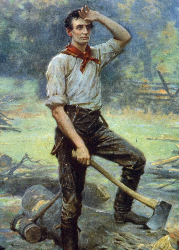 A painting showing Abraham Lincoln at work cutting logs, this early work gained him the nickname of 'railsplitter' when he entered politics. (MPI/Getty Images)