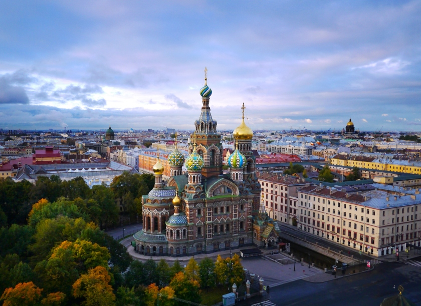 Aerial view of Cathedral on Spilled Blood in St. Petersburg (Amos Chapple/Lonely Planet Images/)