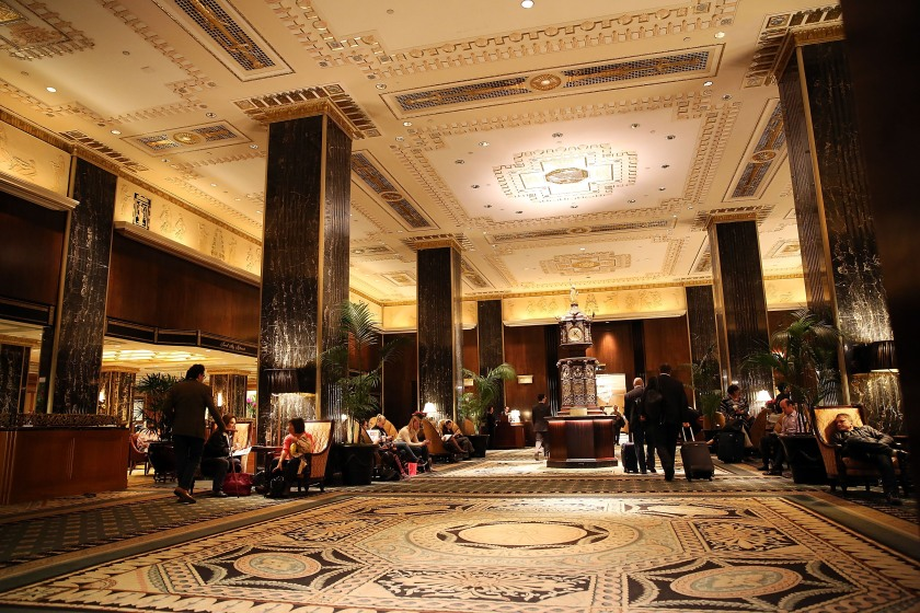 NEW YORK, NY - OCTOBER 06: The entrance to the Waldorf Astoria, the landmark New York hotel, is viewed on October 6, 2014 in New York City. It was announced October 6, that Hilton Worldwide will sell the Waldorf to the Beijing-based Anbang Insurance Group for $1.95 billion. As part of the deal the Waldorf will undergo a major renovation. The Park Avenue hotel opened on October 1, 1931, and claimed to be the biggest hotel in the world at the time, attracting movie stars, politicians and the wealthy. (Photo by Spencer Platt/Getty Images)