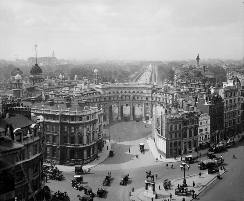Admiralty Arch, The Mall, Westminster, London in 1923. It was designed by Sir Aston Webb and built in 1910 as part of the Queen Victoria memorial scheme. The central archway is used only on ceremonial occasions. (English Heritage/Heritage Images/Getty Images)
