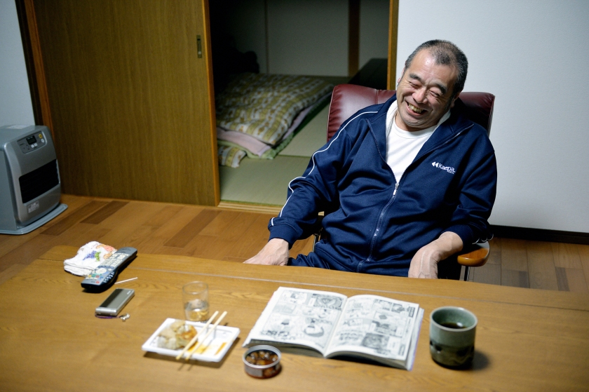 Kazuyoshi Sato, 59, smiles as he returns his home at former no-go zone of the crippled Fukushima Daiichi Nuclear Power Plant in Naraha, Fukushima, Japan. (The Asahi Shimbun via Getty Images)