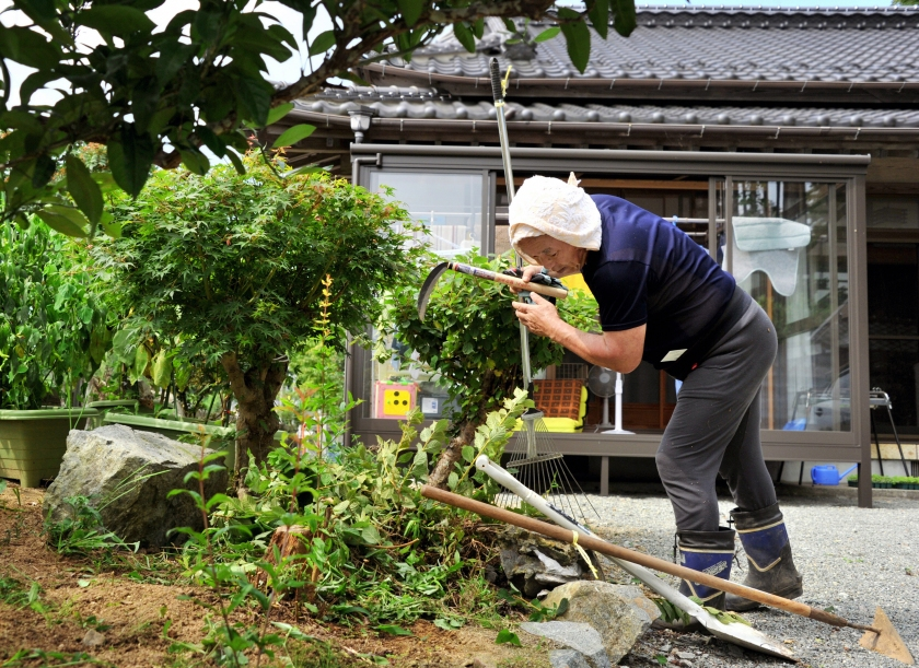 Toshimi Sato, 64, tidies up the garden of his house as the evacuation order was removed on September 5, 2015 in Naraha, Japan. (The Asahi Shimbun via Getty Images)