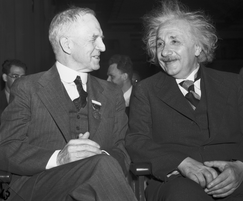 Lyman J. Briggs, Director for the National Bureau of Standards (left) with Professor Albert Einstein as they attended a session of the Eighth American Scientific Congress in Washington, May 15th. (Betmann/Getty Images)